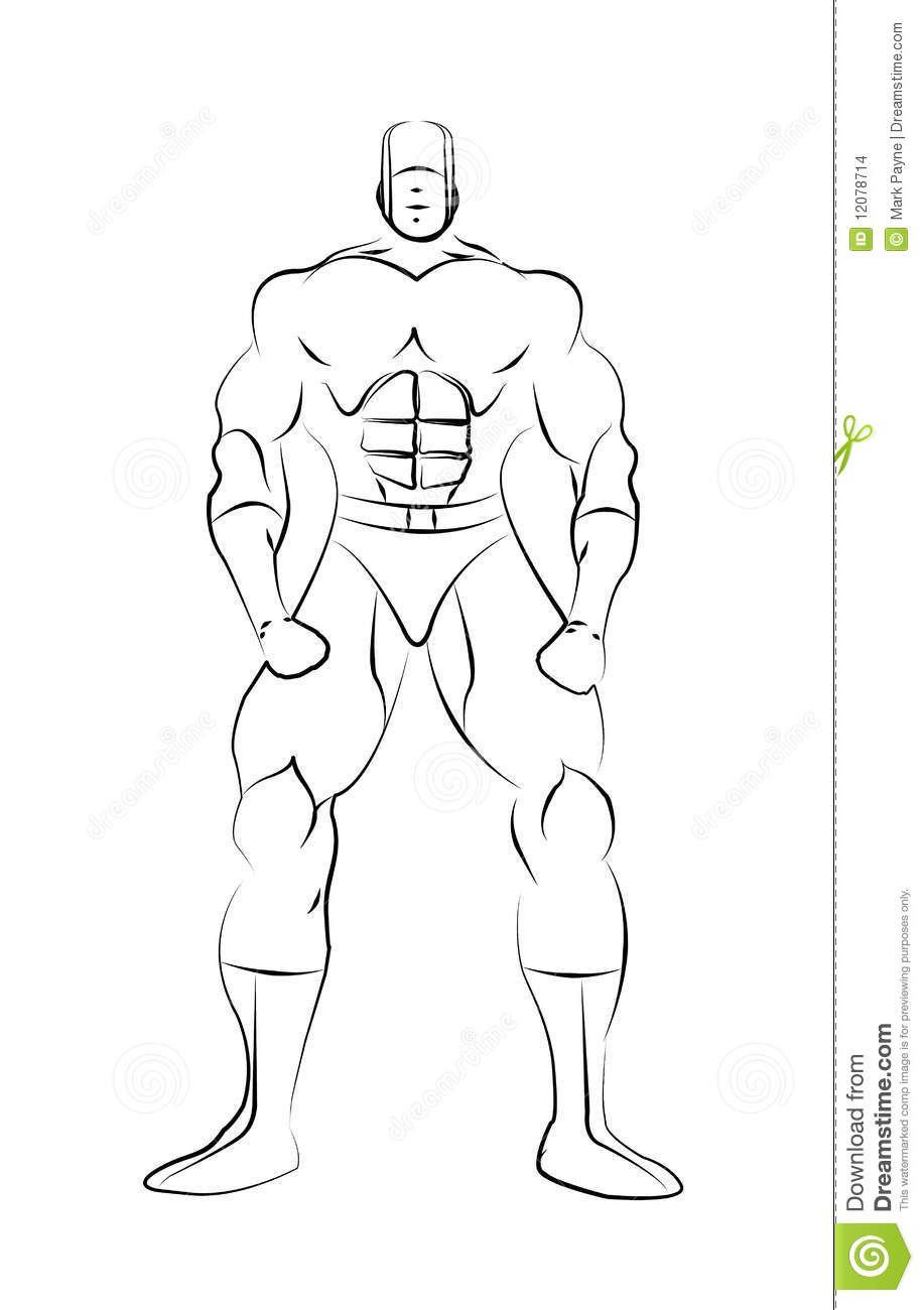 Male Superhero Line Drawing Template isoalted on a white background.
