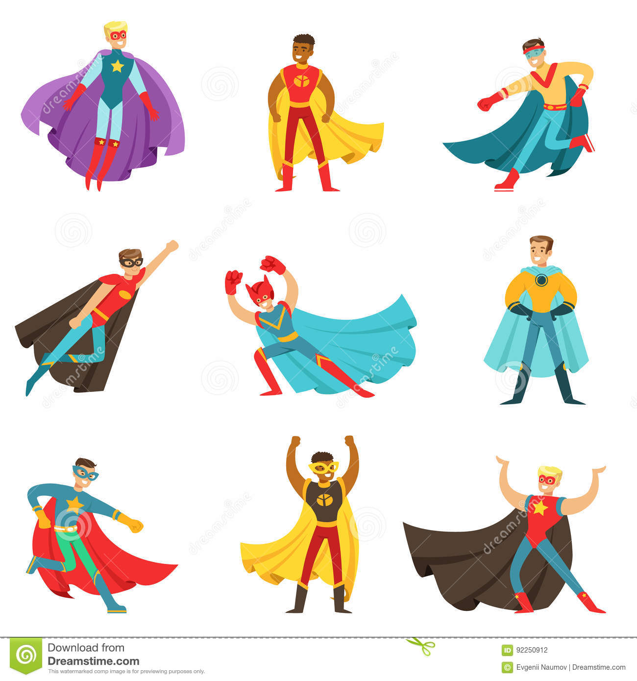 Super Y Cartoon Characters : Male superheroes in classic comics costumes with capes set