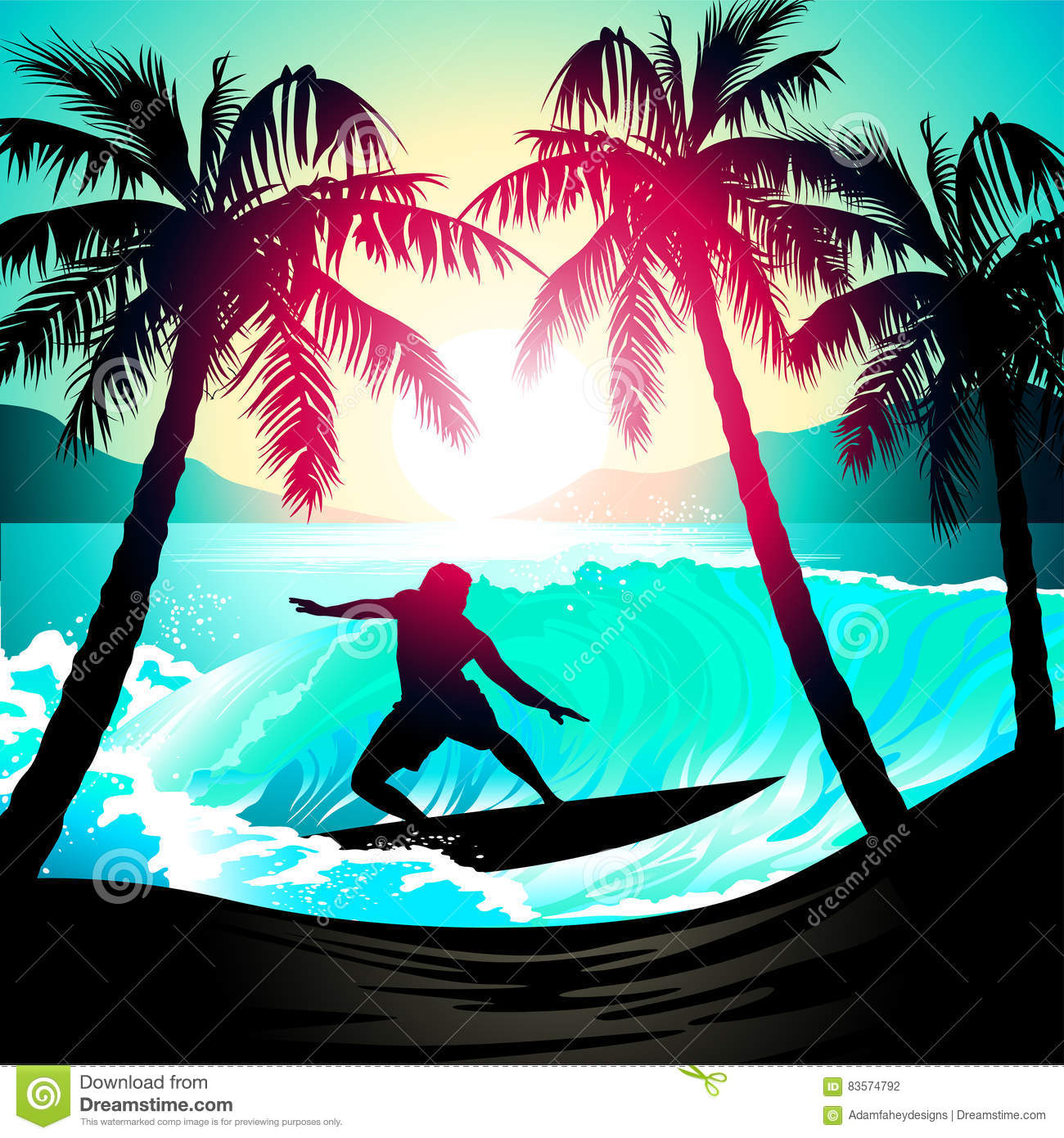 Tropical Beach At Sunset Surfing Illustration Royalty-Free