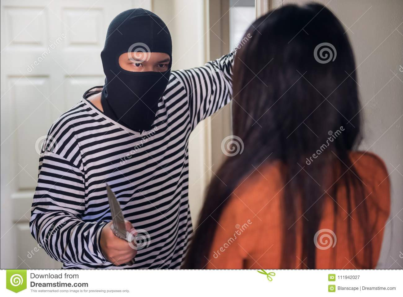 male thief attack victim girl in room