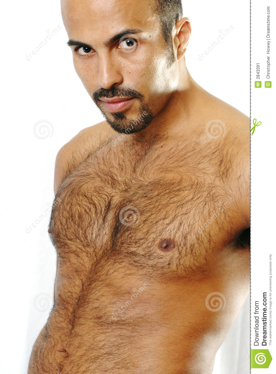 This image shows the torso of a muscular hispanic man with trimmed