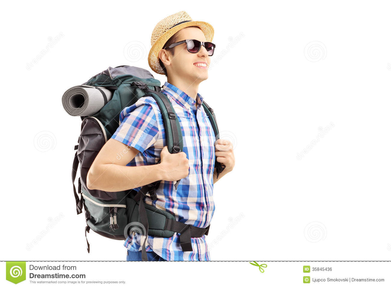Male Tourist With Backpack Walking Stock Photo - Image of ...