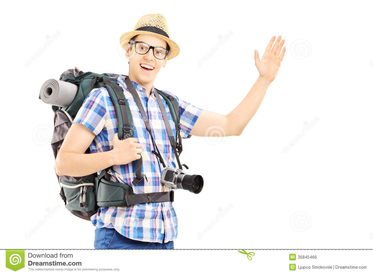 Male Tourist With Backpack Waving With His Hand Royalty Free Stock ...