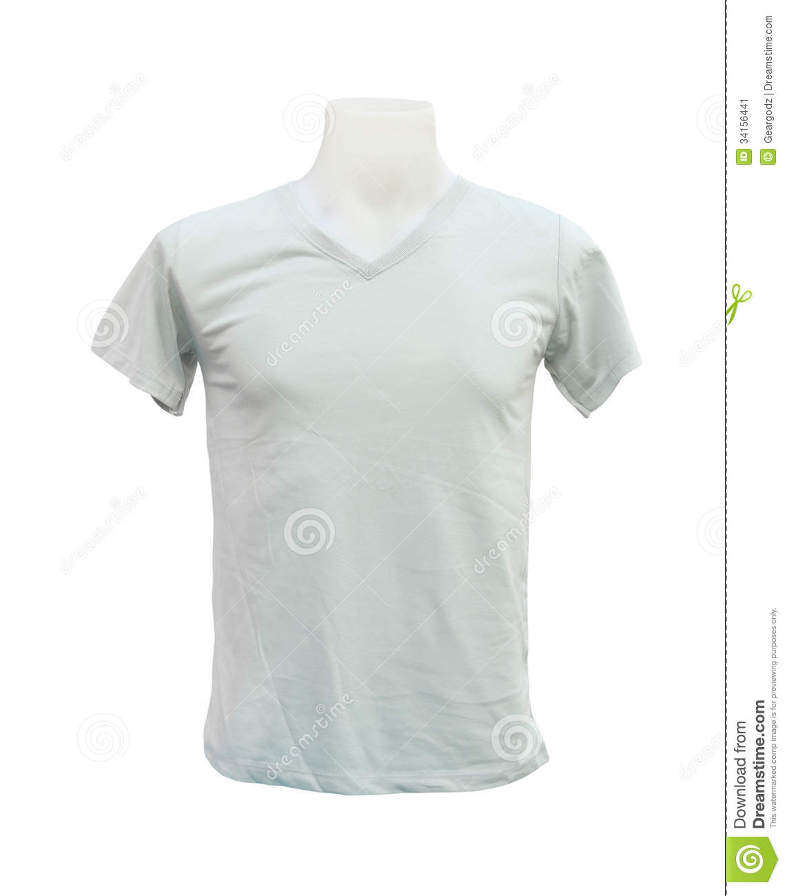 male tshirt template on the mannequin on white stock image