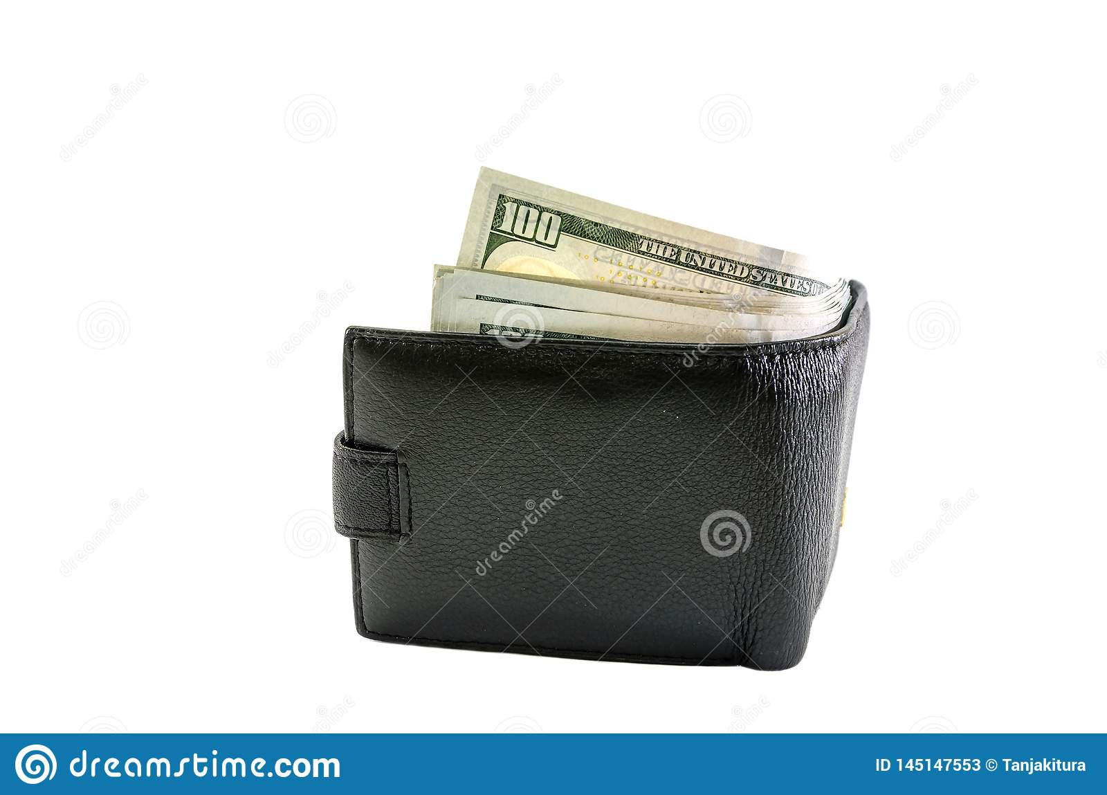 Black, male wallet with dollars on a white background