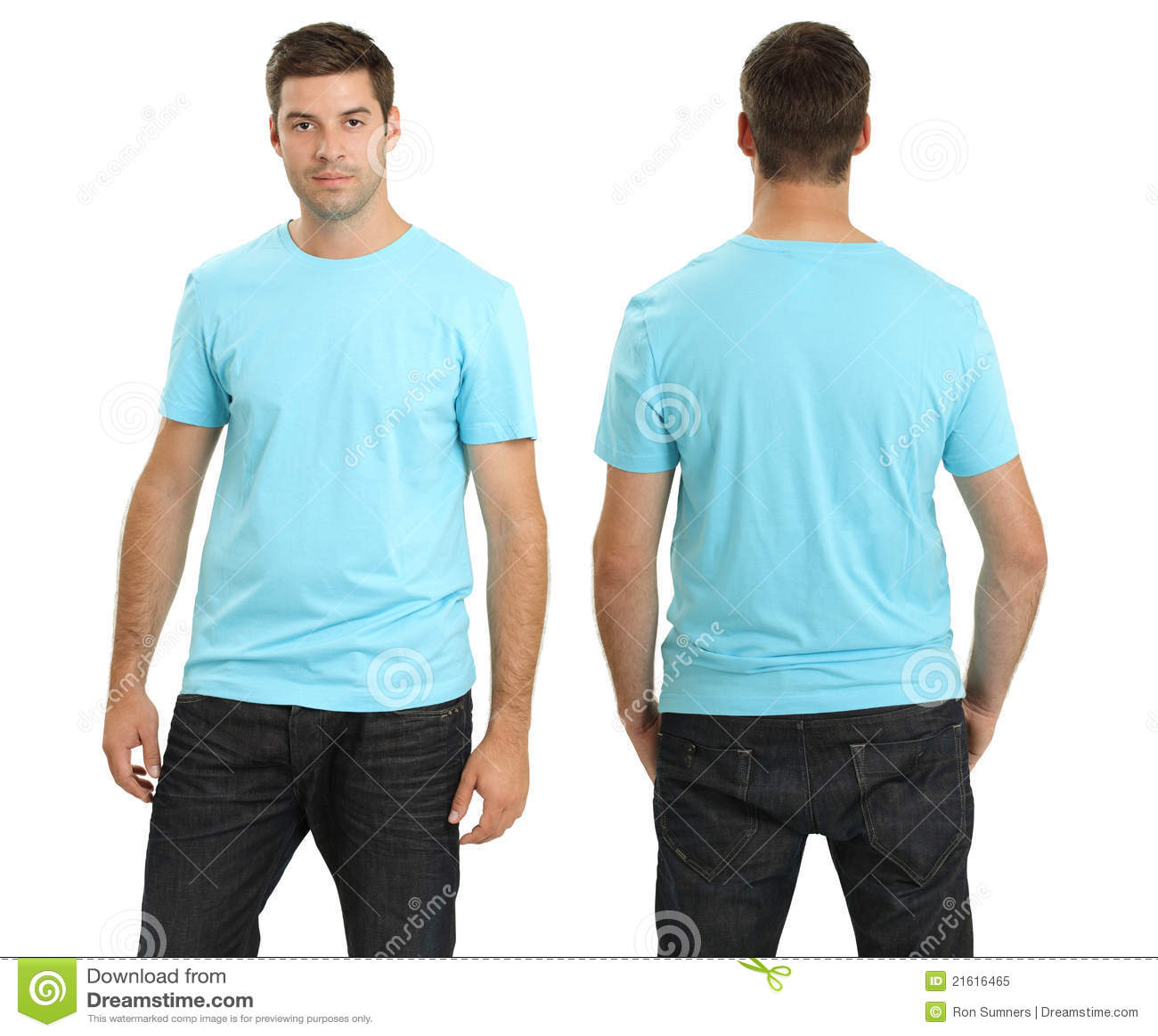 Male Wearing Blank Light Blue Shirt Stock Image