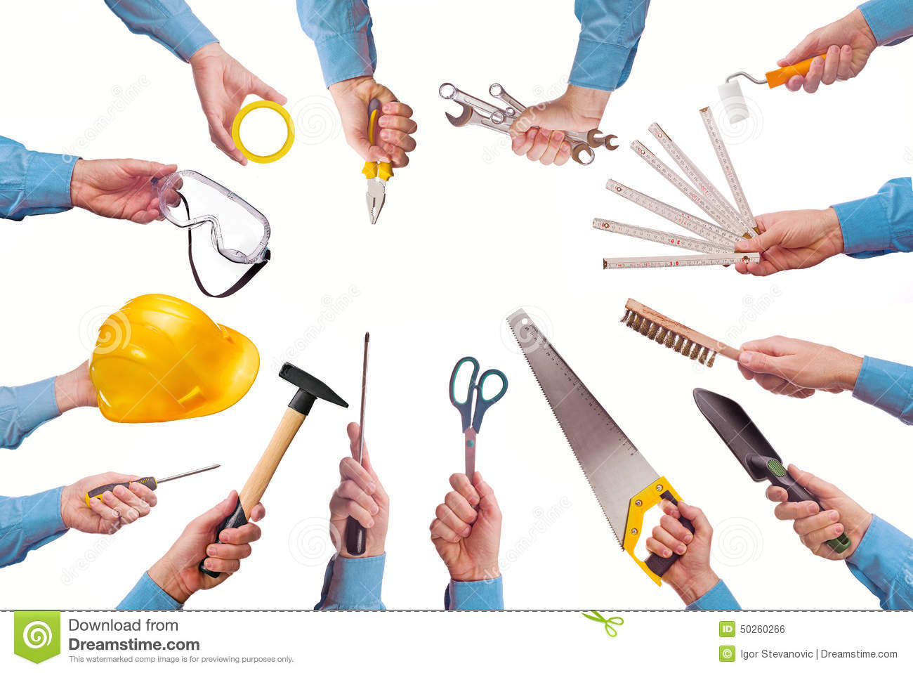 male worker 39 s hand holding various craft trade tools stock