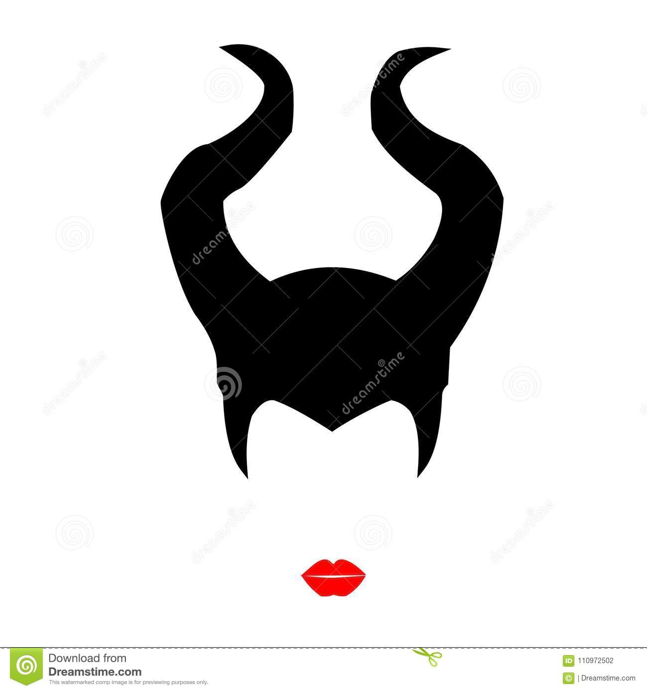 Maleficent A Beautiful Witch With Red Lips Stock Vector