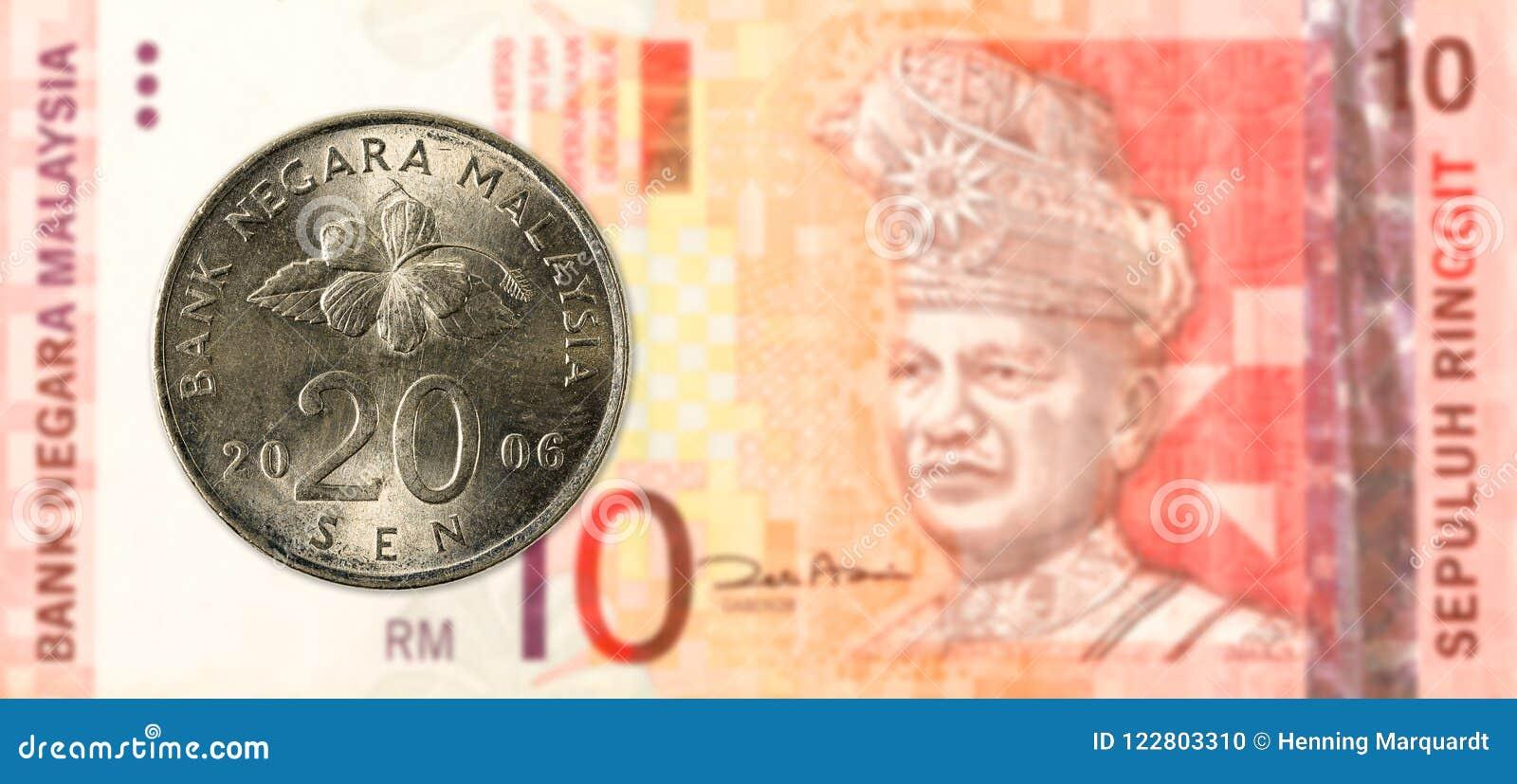 20 Maleis sen muntstuk tegen Maleis ringgit 10 bankbiljet