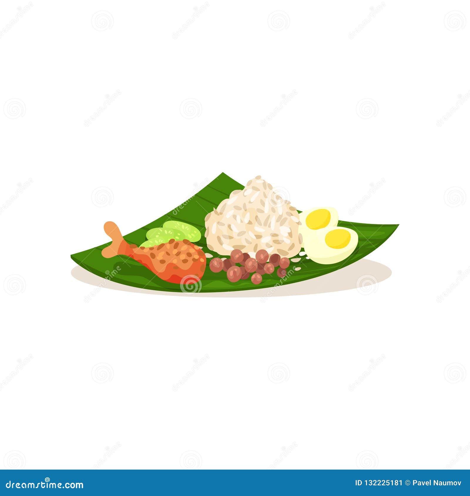 Maleise nasi lemak op groen blad Rijst met gekookt ei, kippenbeen gesneden komkommer en pinda s Vlak vectorontwerp