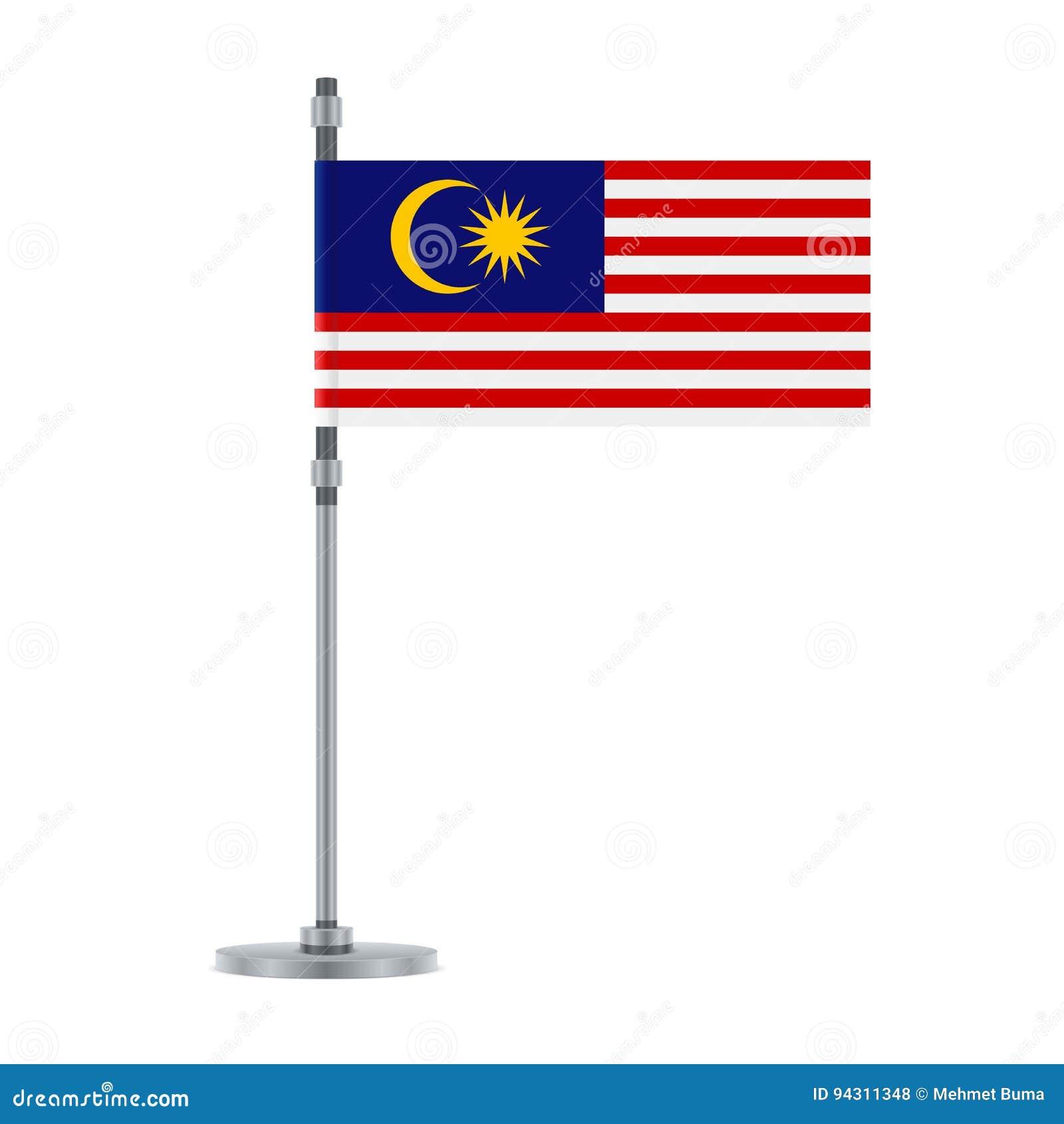 Maleise vlag op de metaalpool, vectorillustratie