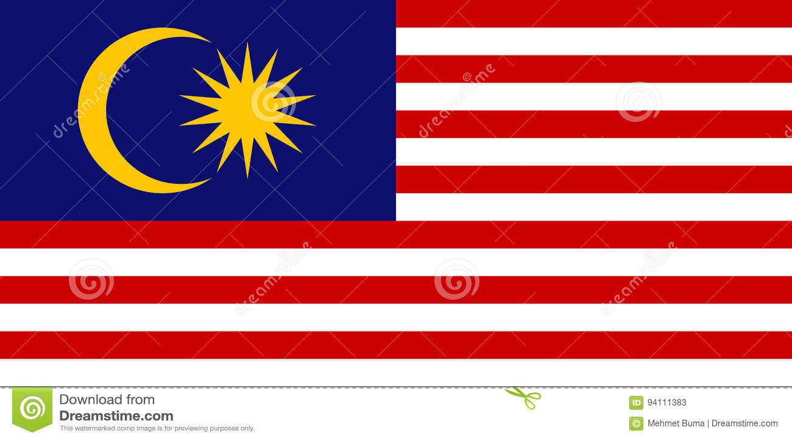 Maleise vlag, vlakke lay-out, vectorillustratie