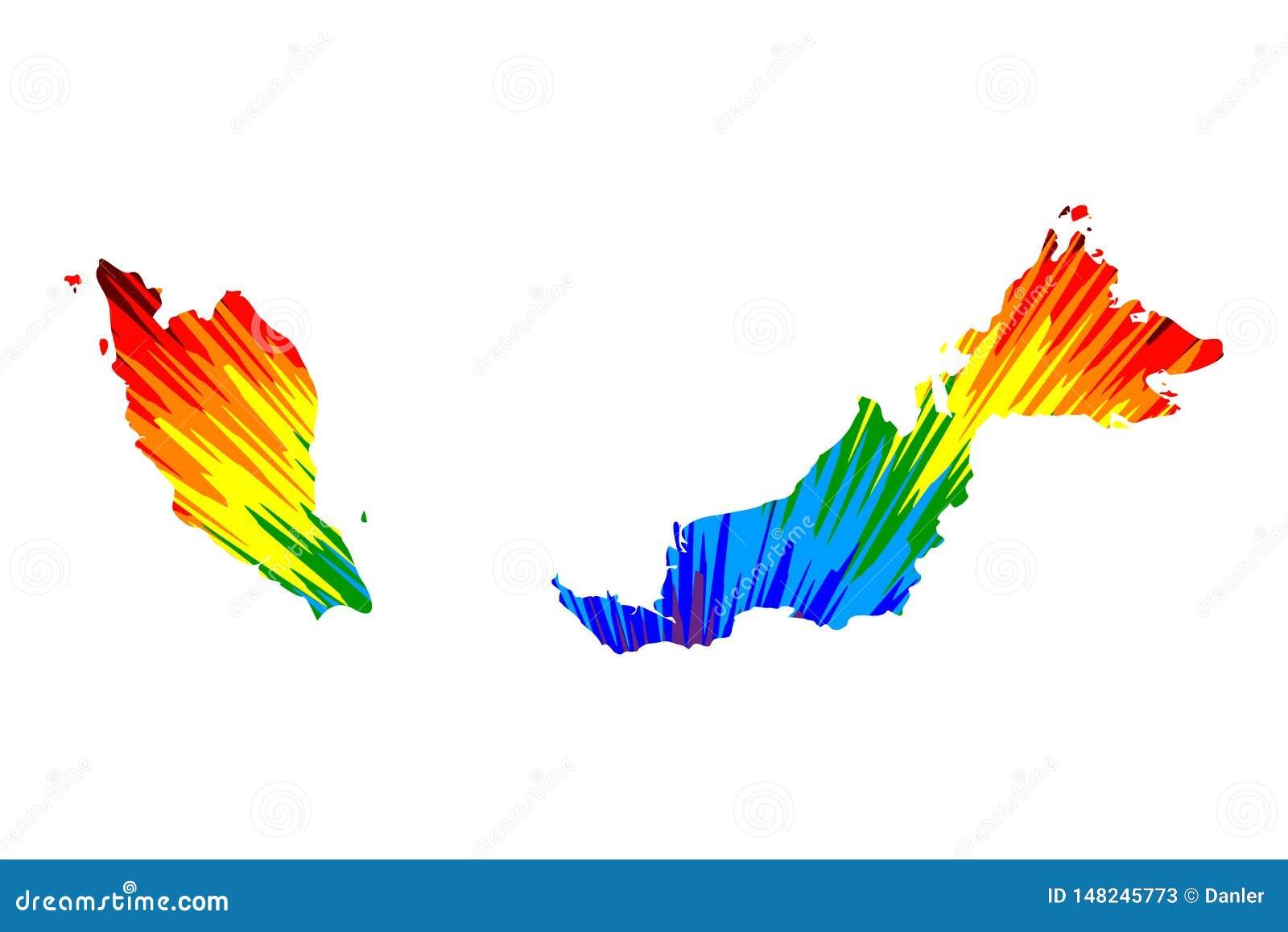 Maleisië - de kaart is ontworpen regenboog abstract kleurrijk die patroon, de kaart van Maleisië van kleurenexplosie wordt gemaak