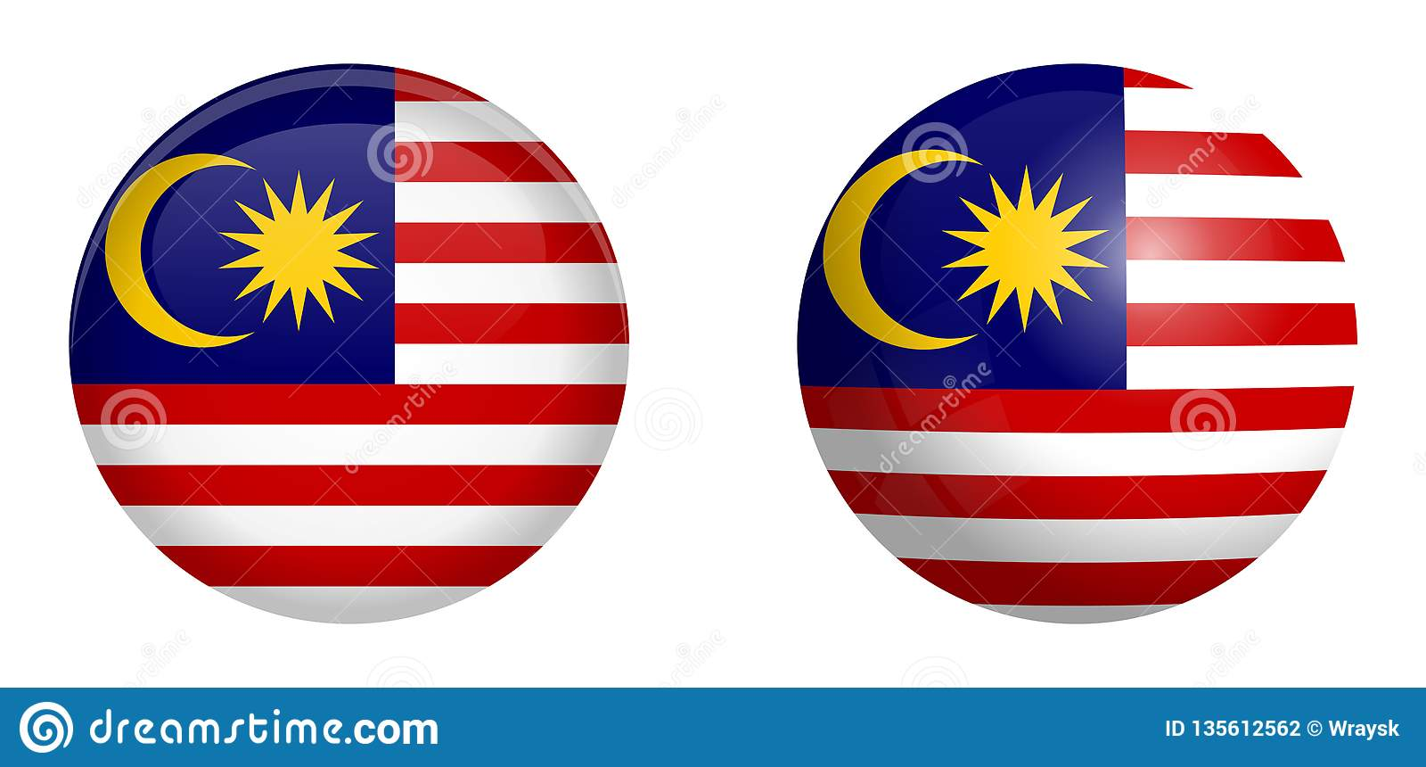 Maleisische vlag onder 3d koepelknoop en op glanzende gebied/bal