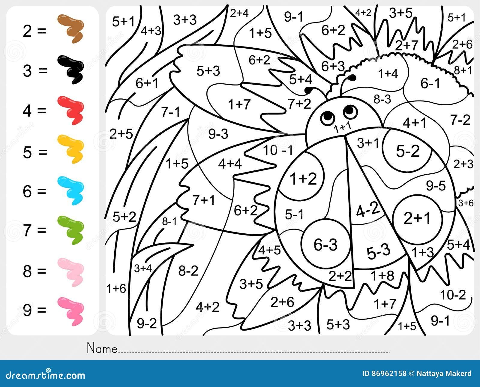 Malen Sie Farbe Durch Zahlen - Zusatz Und Abzugarbeitsblatt Für ...