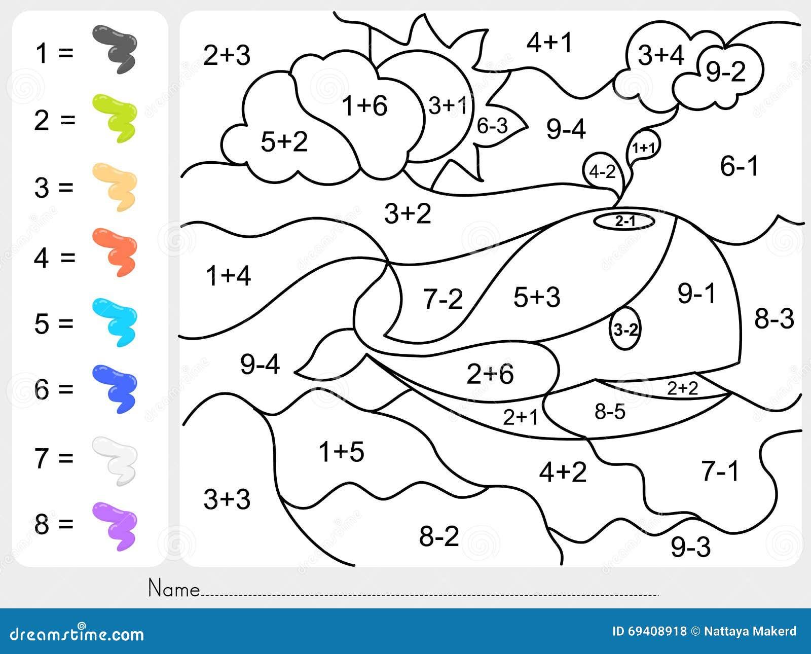 Malen Sie Farbe Durch Zusatz- Und Abzugzahlen Vektor Abbildung ...