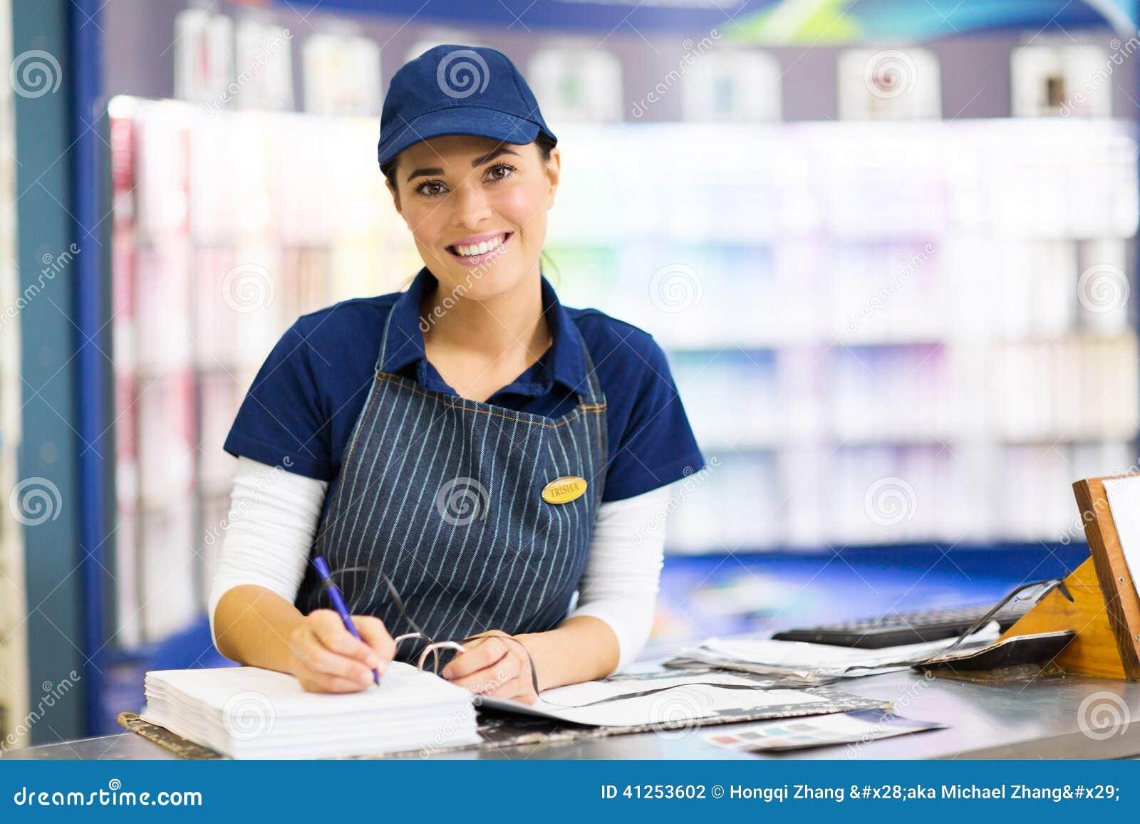 Malen Sie Ladenangestellter