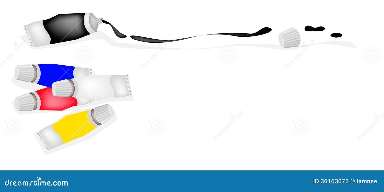 Prim Rfarben malen sie rohr primärfarben mit weiß und schwarzem lizenzfreies stockbild bild 36163076