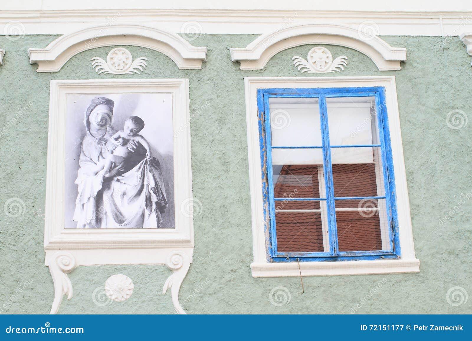 malen und blaues fenster stockbild. bild von architektur - 72151177
