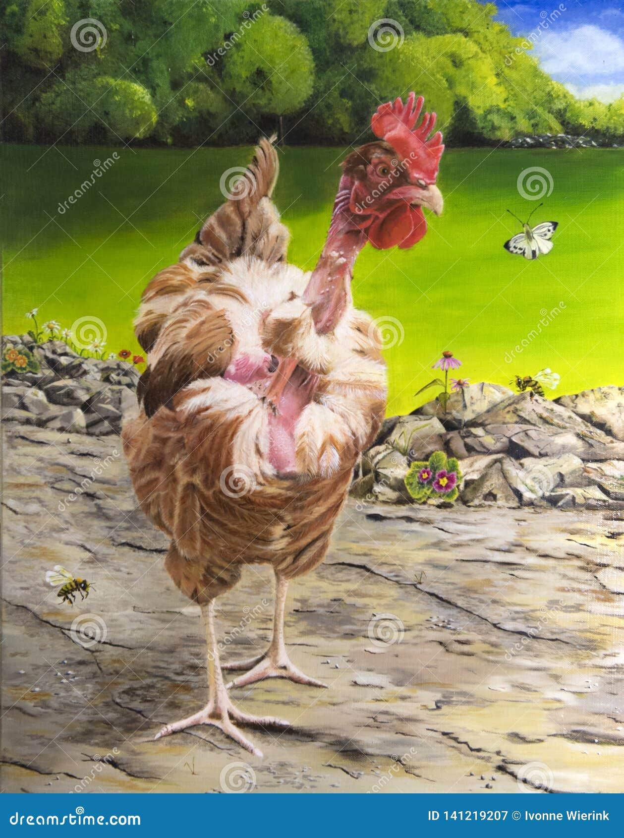Malendes Huhn im Freien mit balkd Hals