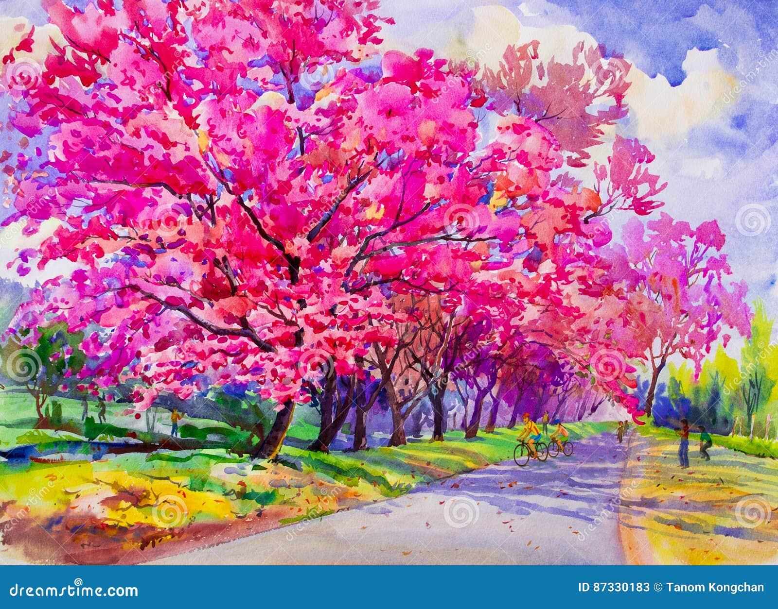 Malereiaquarell-Landschaftsursprüngliche rosarote Farbe der wilden Himalajakirsche
