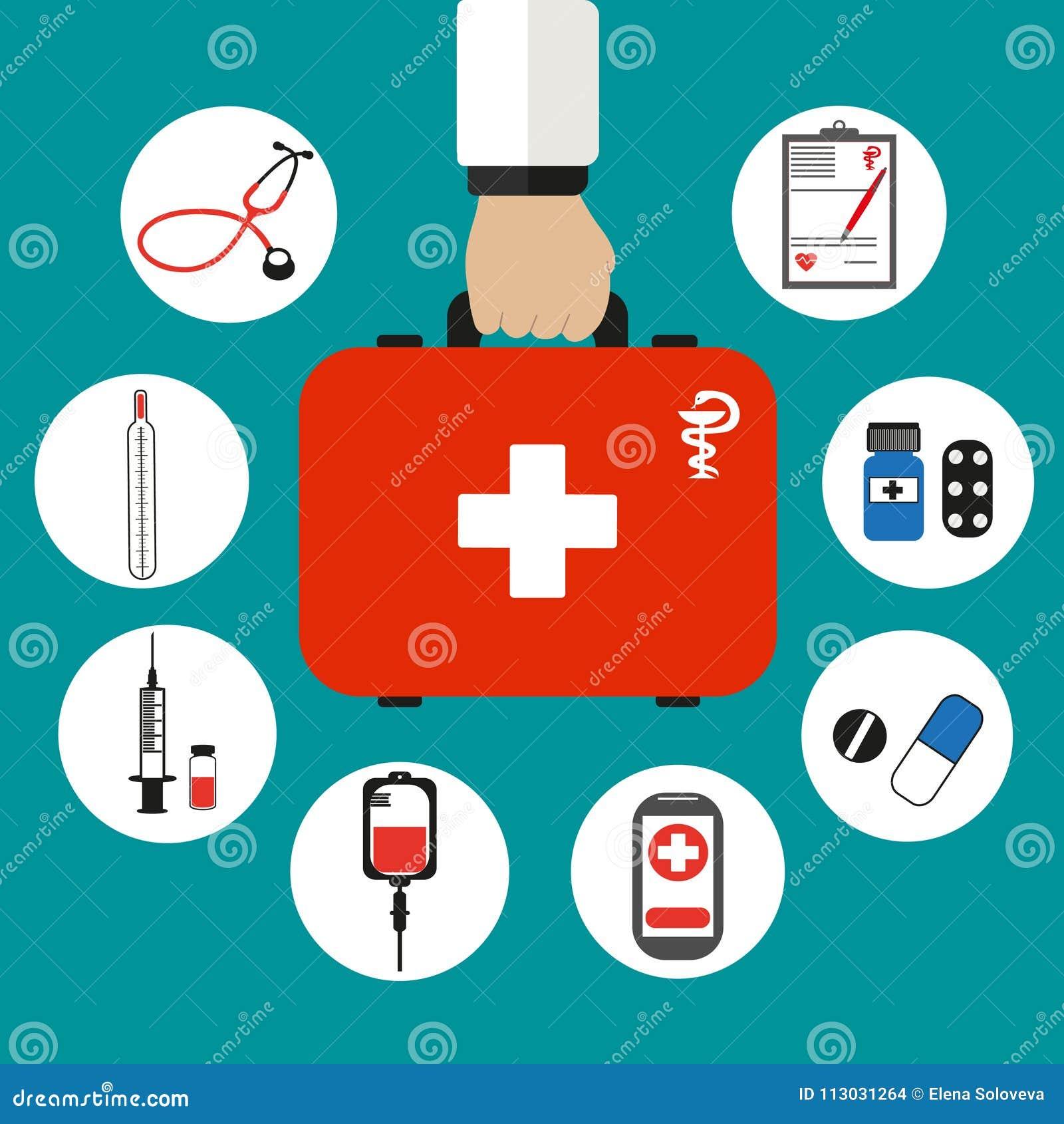 Maleta médica roja a disposición en un fondo verde