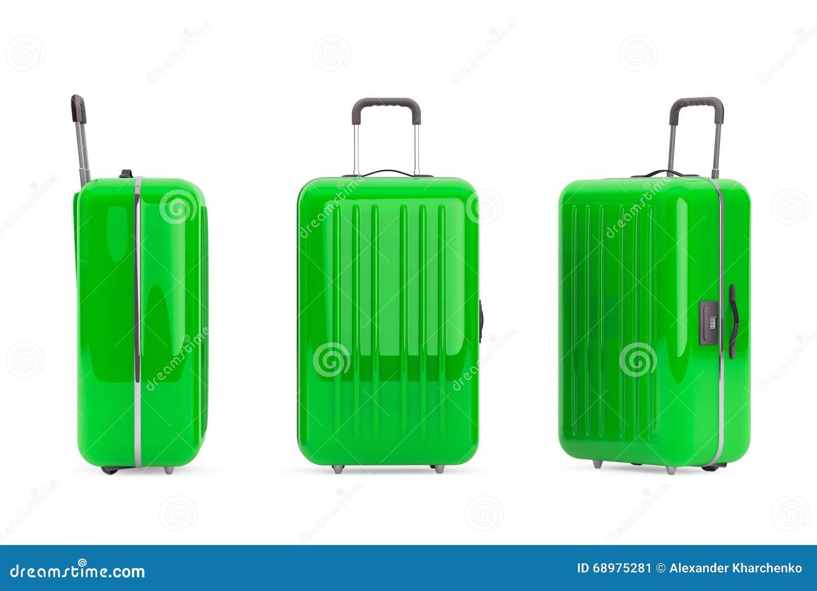 Maletas verdes grandes del policarbonato