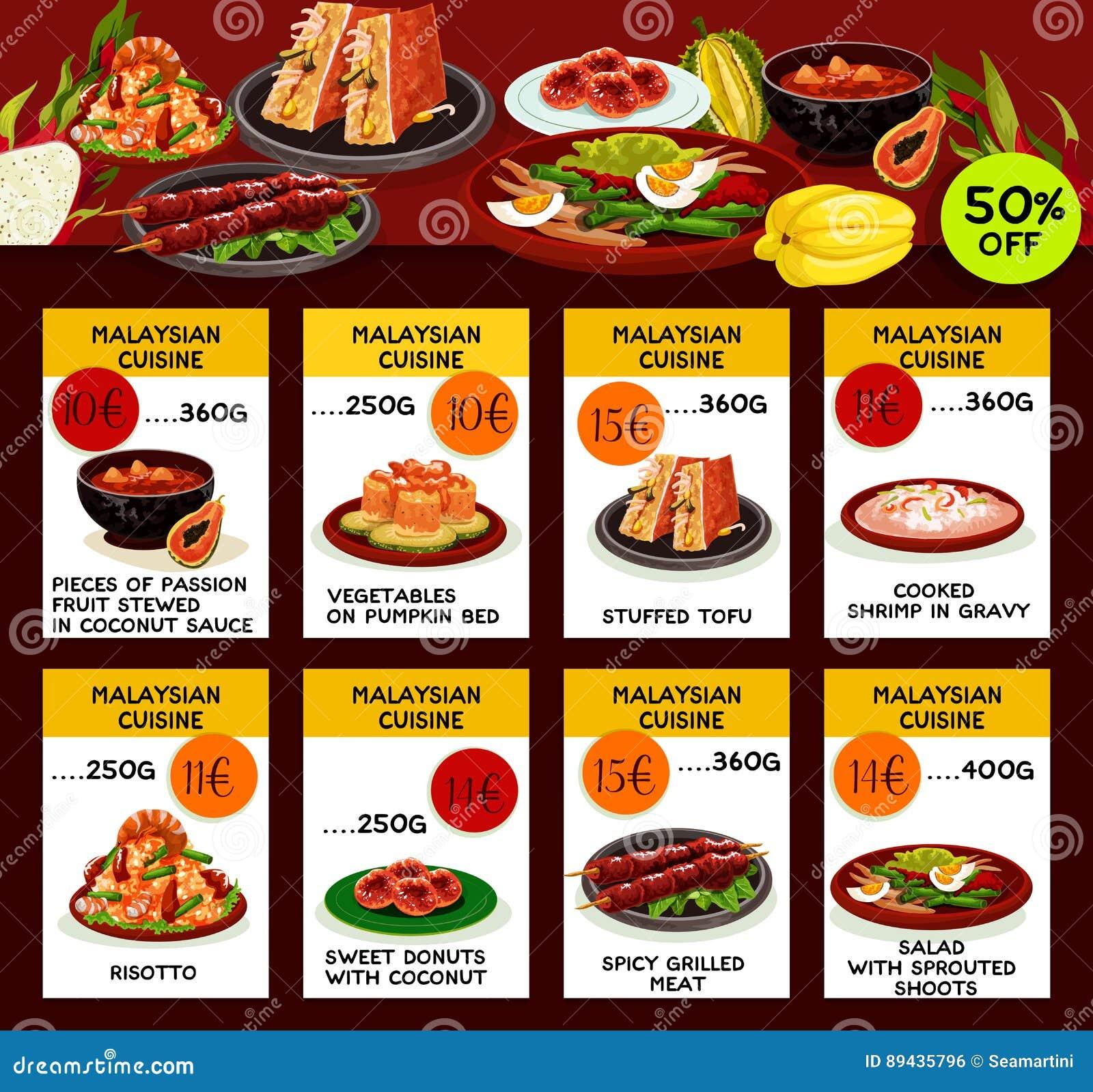 Malezyjskiej Kuchni Menu Szablonu Restauracyjny Projekt
