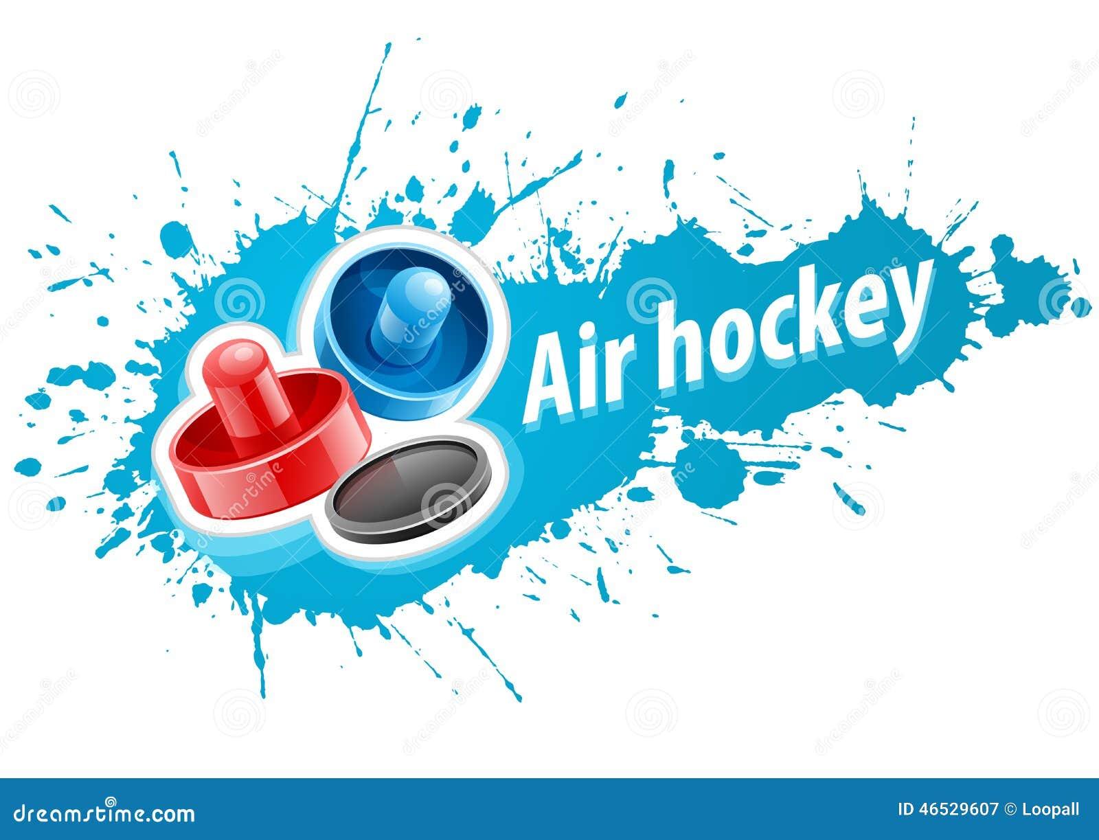 Malhos e disco para o jogo de hóquei do ar