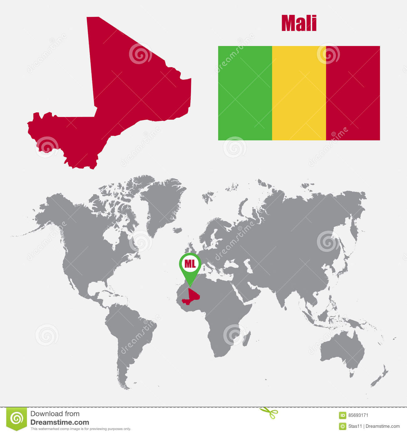 Mali Map On A World Map With Flag And Map Pointer. Vector Illustration