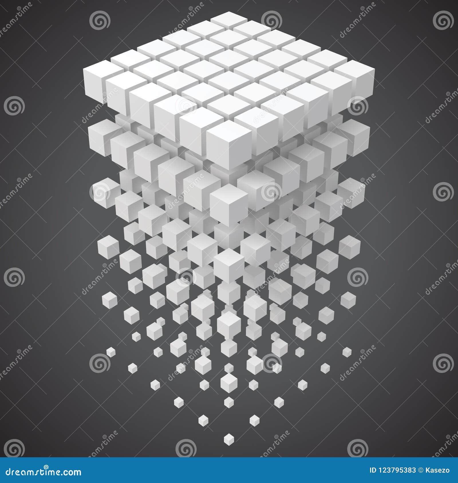 Mali sześciany tworzy dużego sześcian blockchain i duży dane cncept 3d stylu wektoru ilustracja