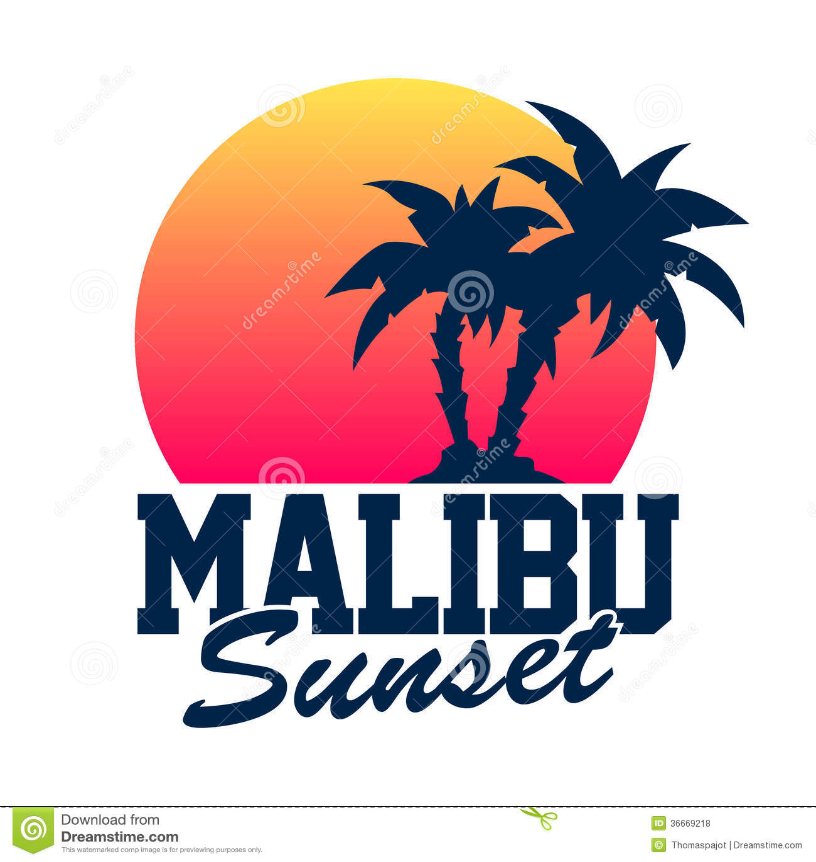Malibu Sunset Stock Vector Image Of Logo Ocean