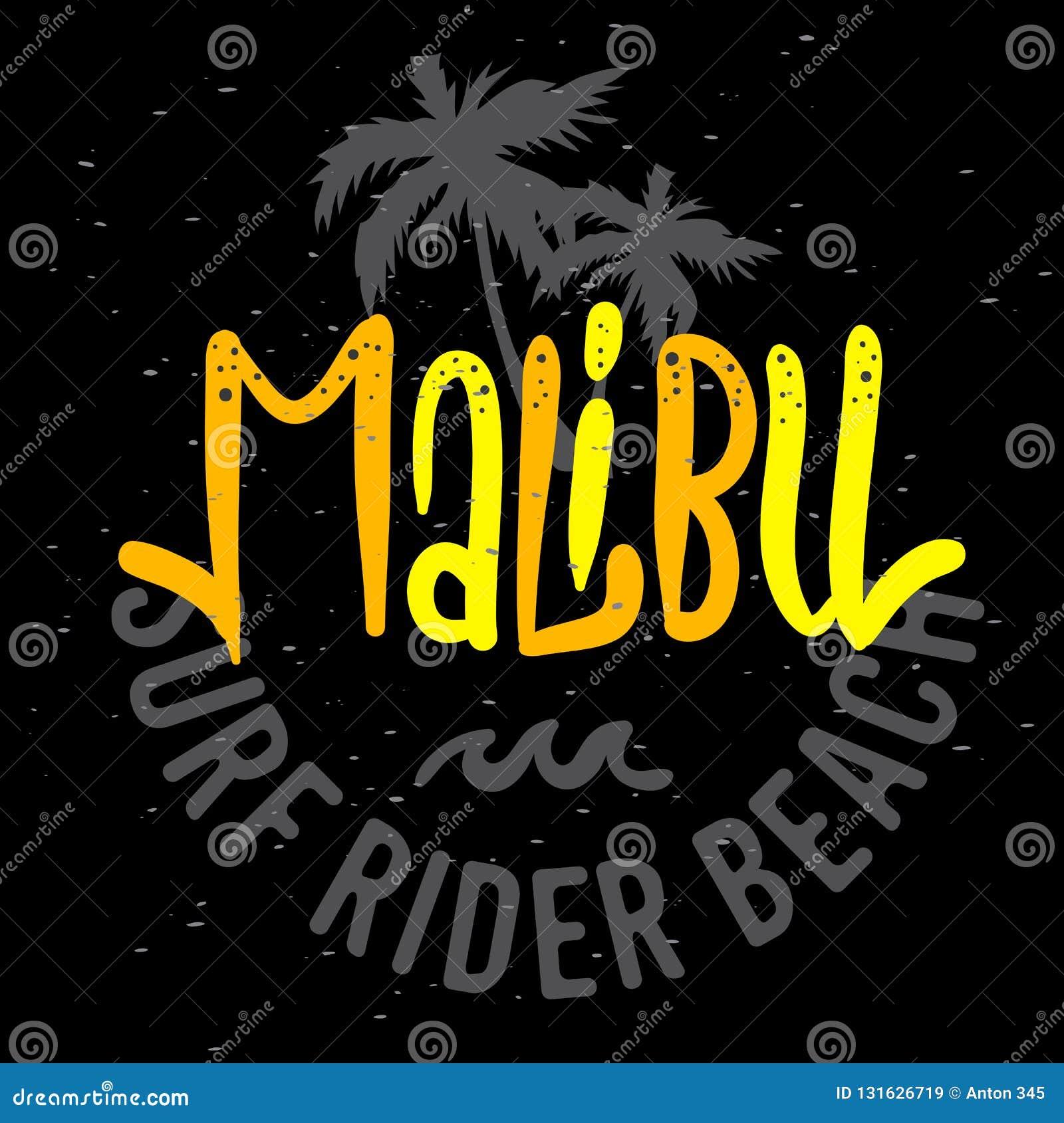 Malibu surfa o projeto Logo Sign Label de Rider Beach California Surfing Surf para a camisa dos anúncios t da promoção ou o carta