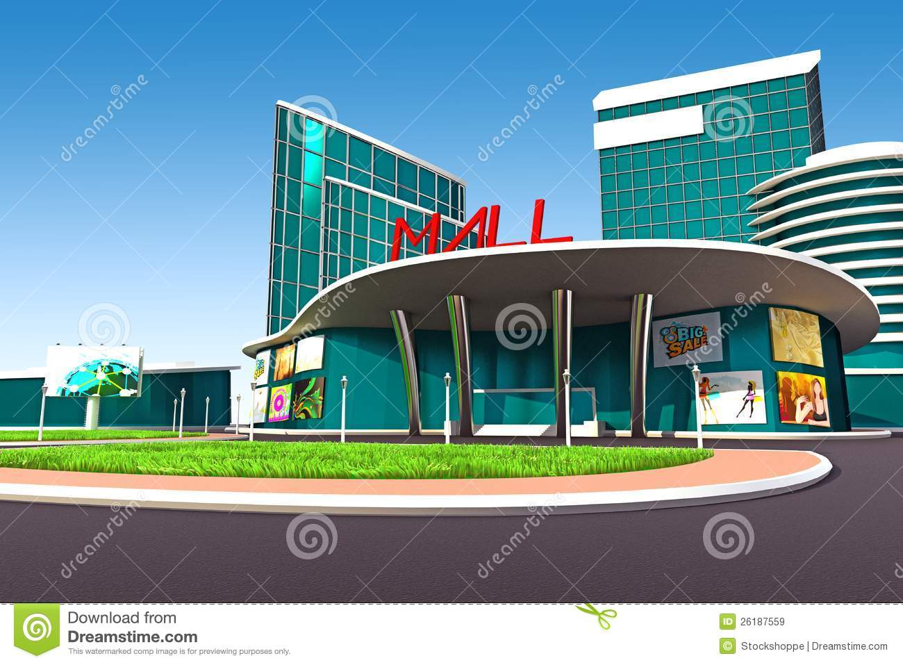 Mall exterior royalty free stock images image 26187559 for Shopping mall exterior design