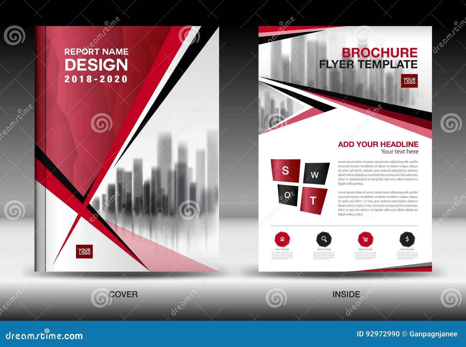Mall för affärsbroschyrreklamblad, röd räkningsdesign, företagsprofil