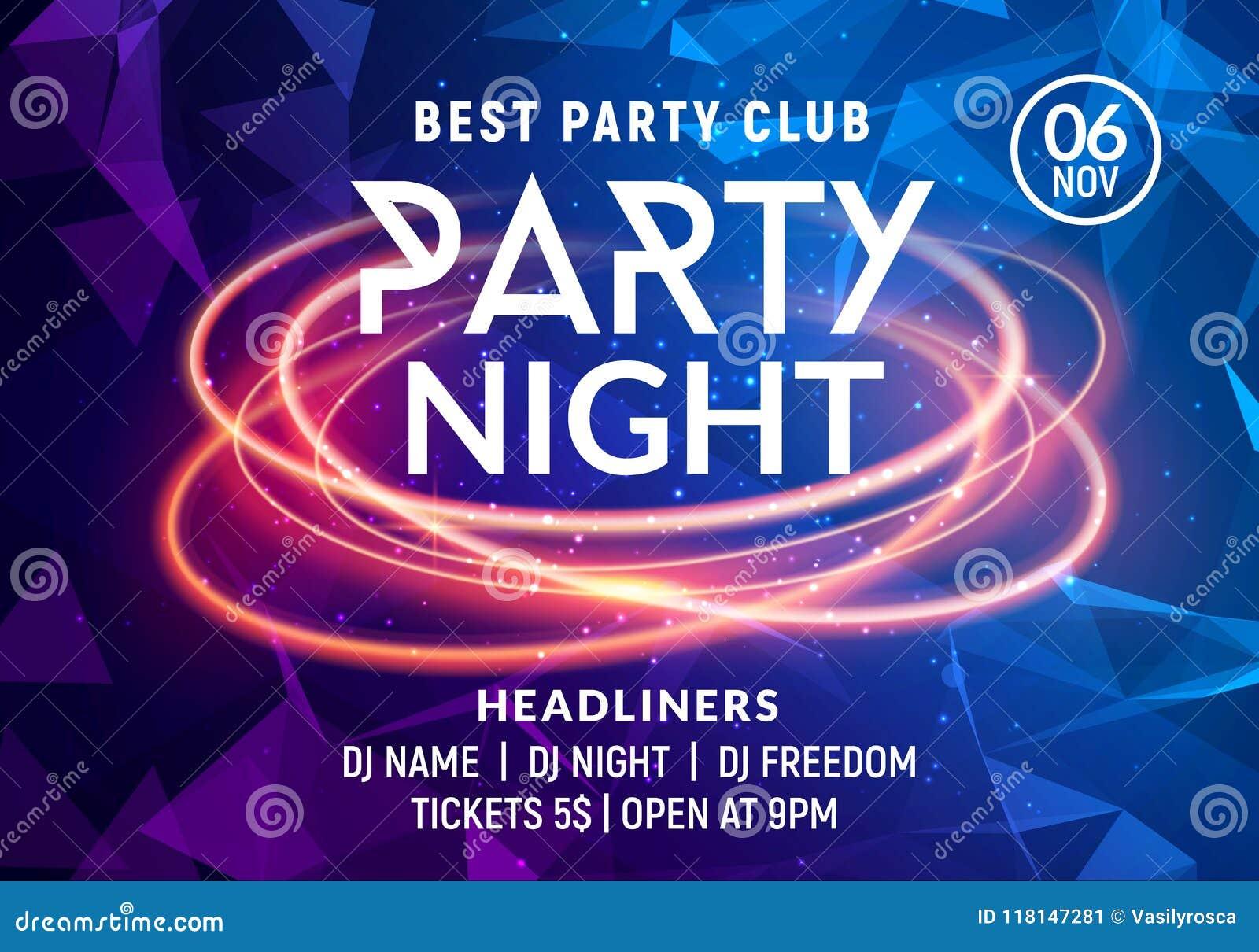 Mall för affisch för natt för musik för nattdansparti Electro inbjudan för reklamblad för händelse för parti för klubba för stilk