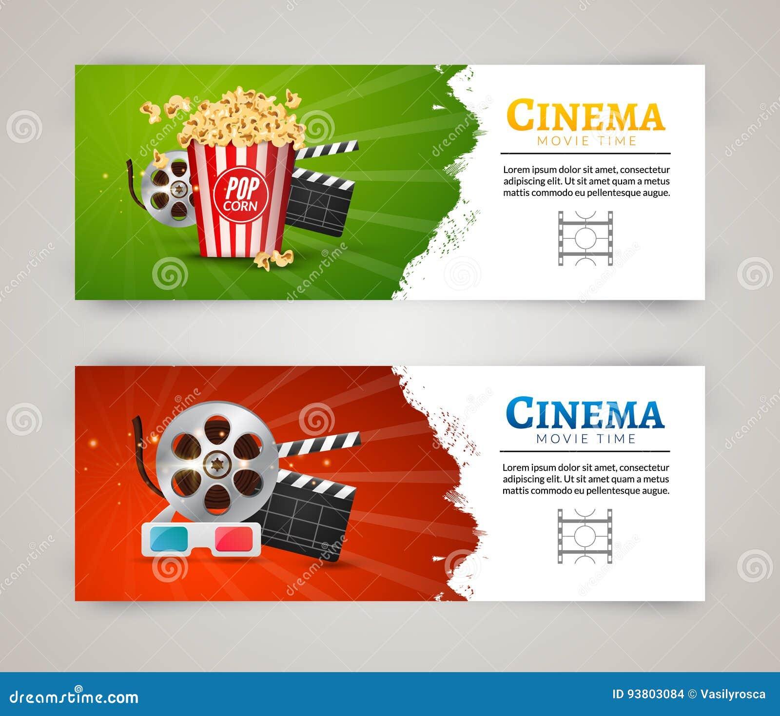 Mall för design för affisch för biofilmbaner Filmclapper, 3D exponeringsglas, popcorn Biobanerorientering