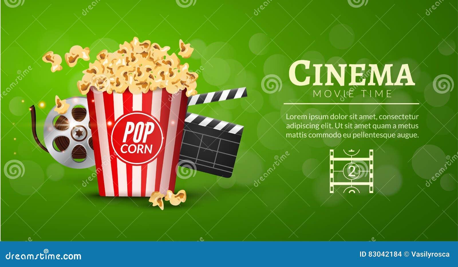 Mall för design för baner för filmfilm Biobegrepp med den popcorn-, bildband- och filmclapperen