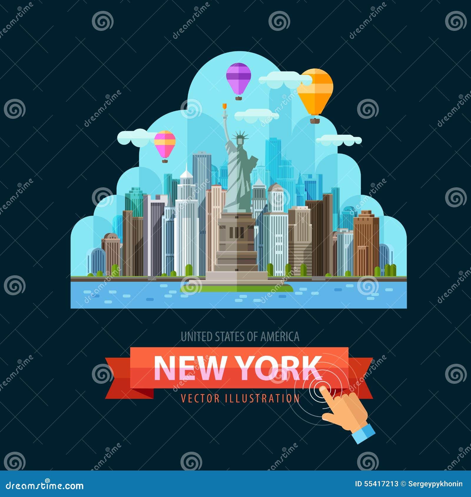 Mall för design för USA vektorlogo New York City eller