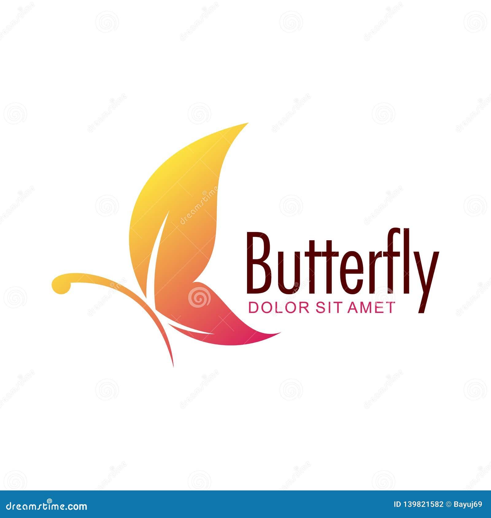 Mall för design för fjärilsvektorlogo