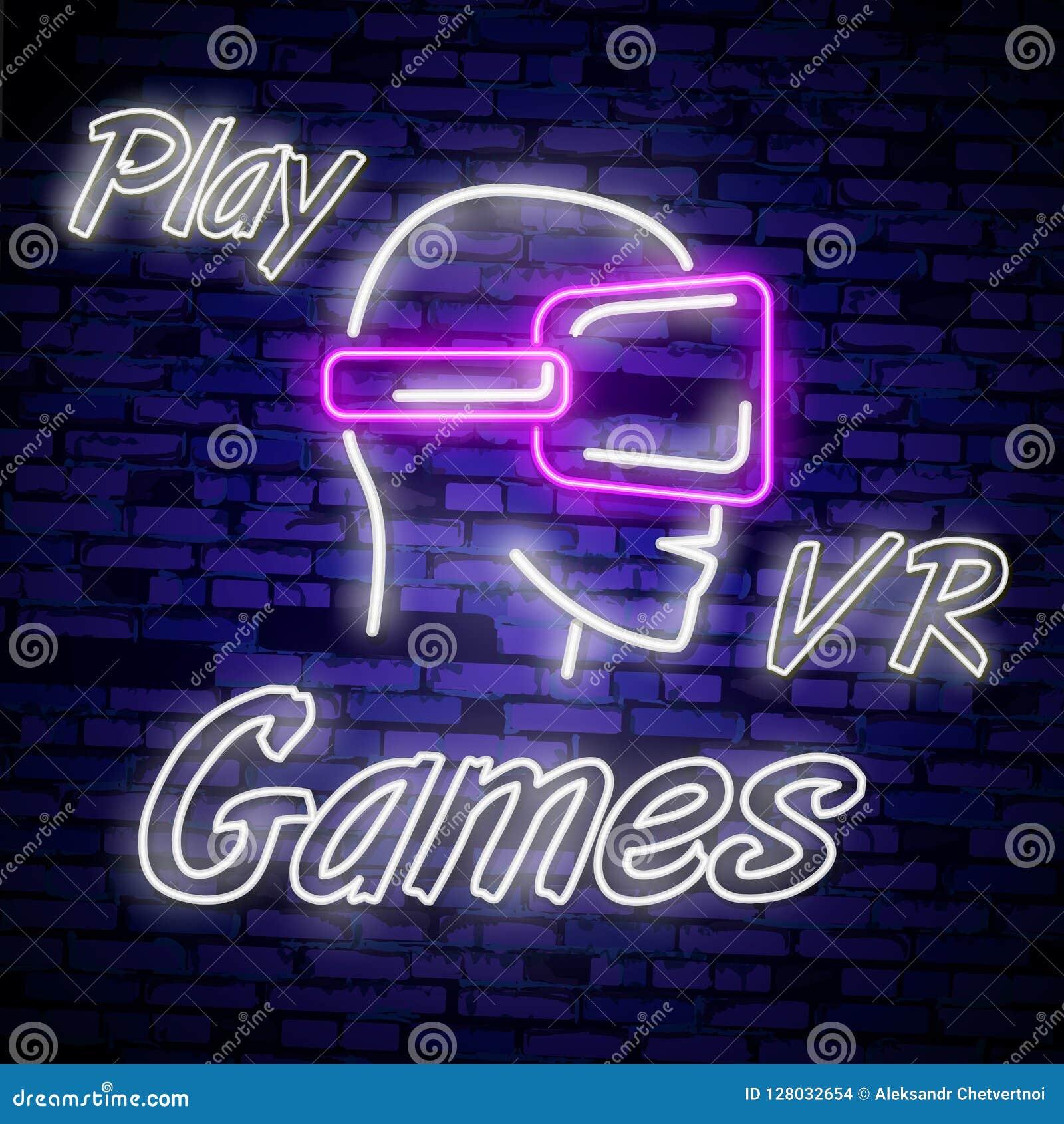 Mall för design för vektor för tecken för neon för videospellogosamling Begreppsmässiga Vr spelar, den Retro modiga nattlogoen i