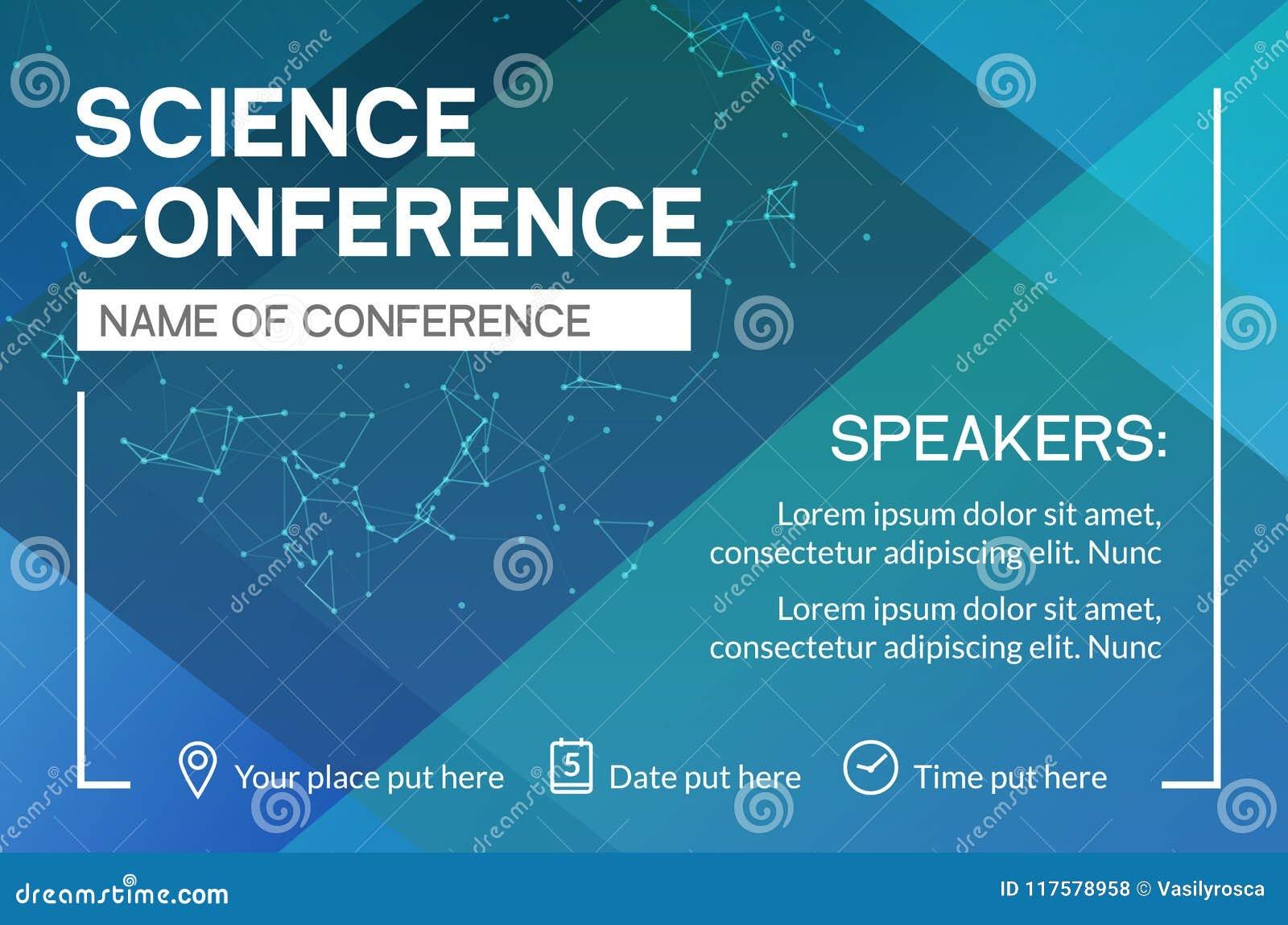Mall för design för vetenskapskonferensaffär Möte för advertizing för marknadsföring för vetenskapsbroschyrreklamblad
