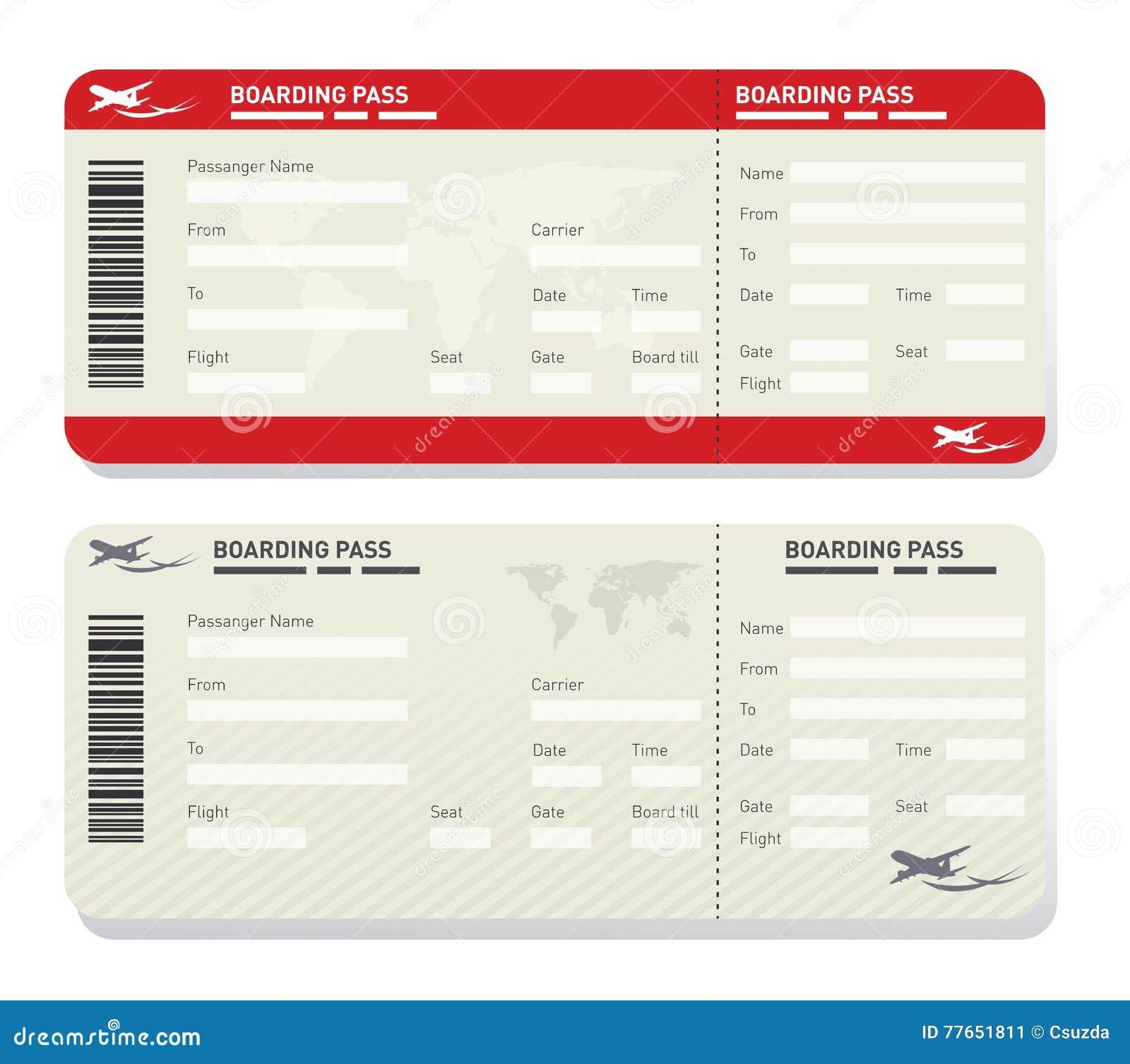 Mall för flygbolagbiljett