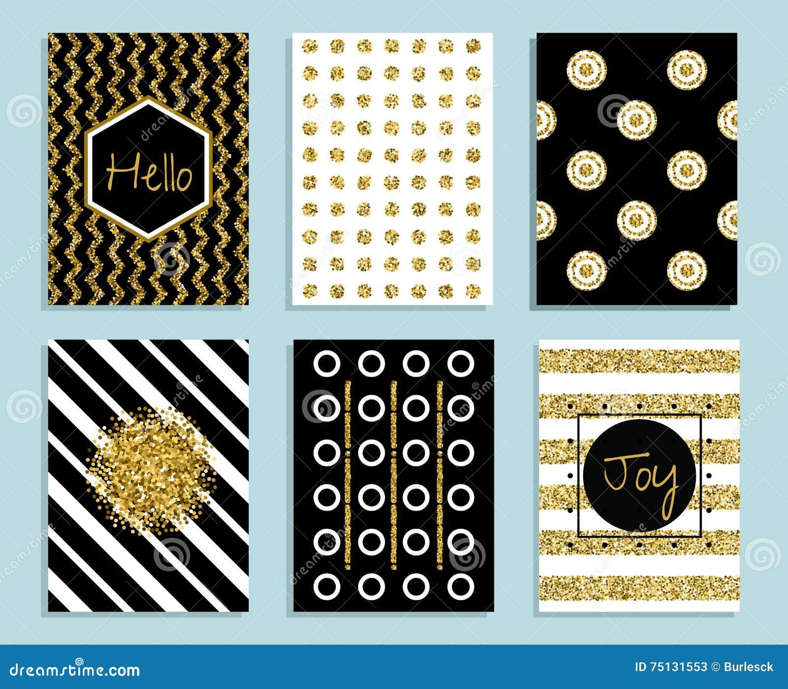 Mall för guld-, vit- och svartgåvakort med textur av folie
