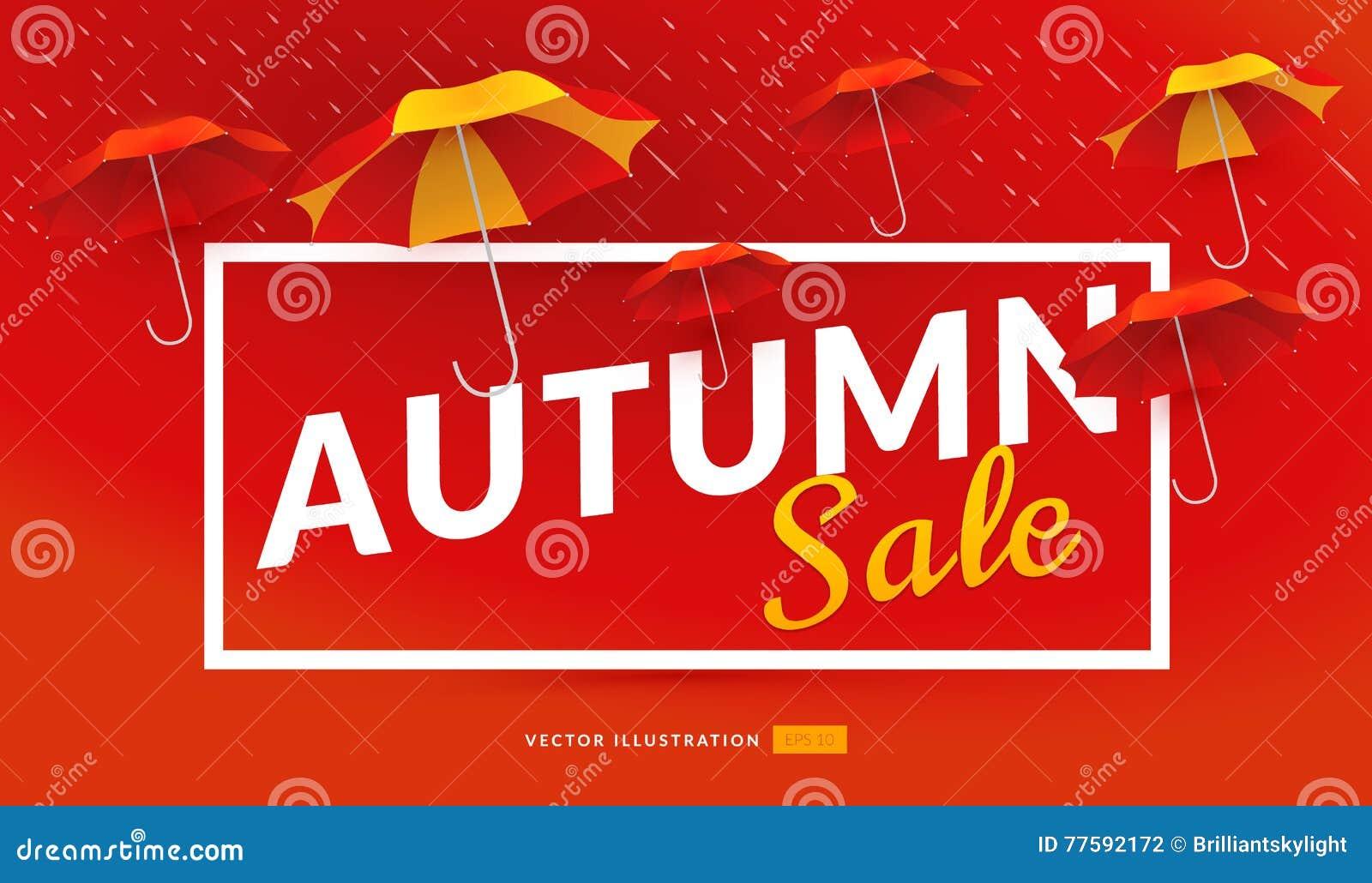Mall För Höstförsäljningsaffisch Med Paraplyer Stock