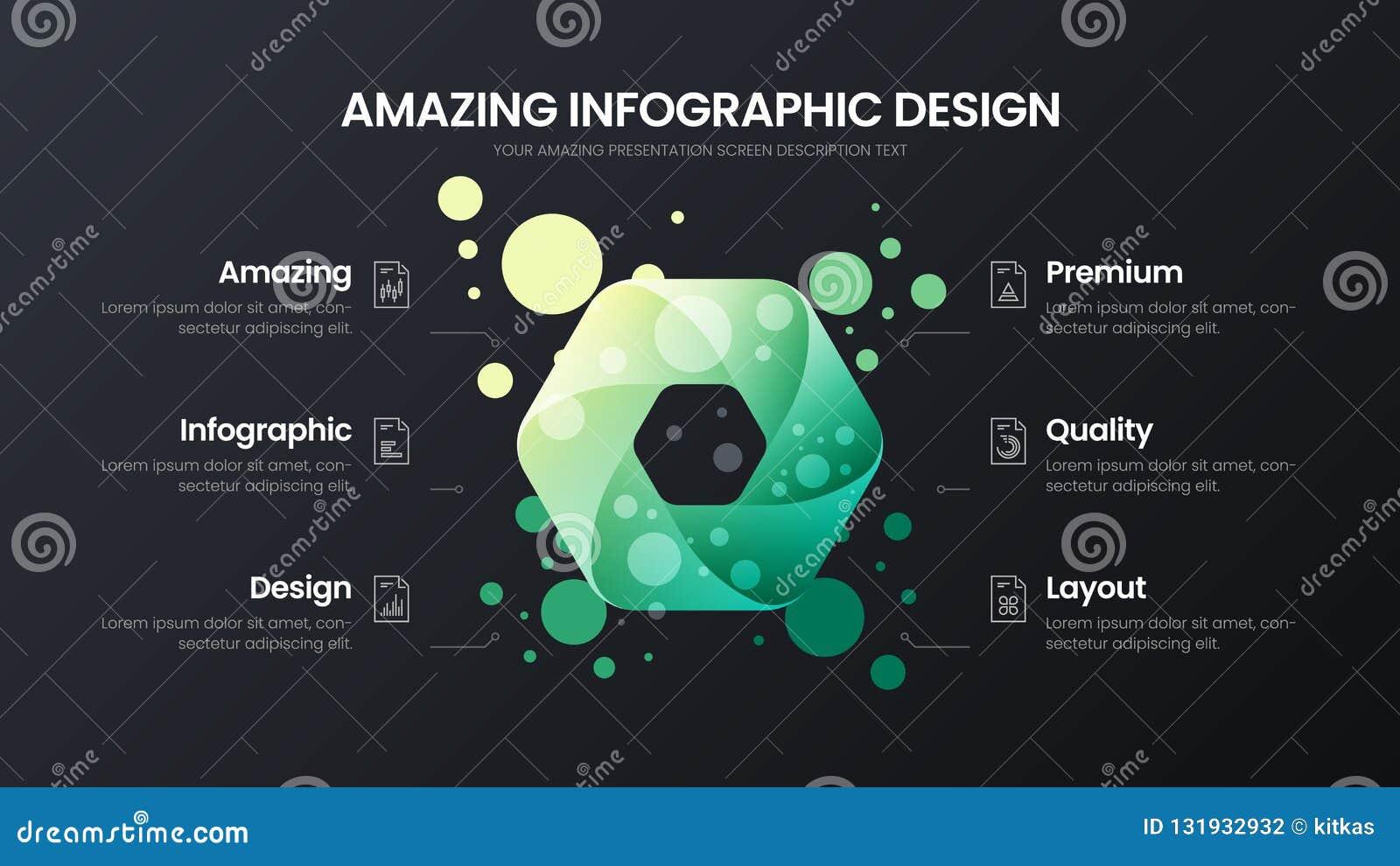 Mall för illustration för vektor för 6 alternativhexahedronanalytics Orientering för affärsdatadesign Infographic organisk statis