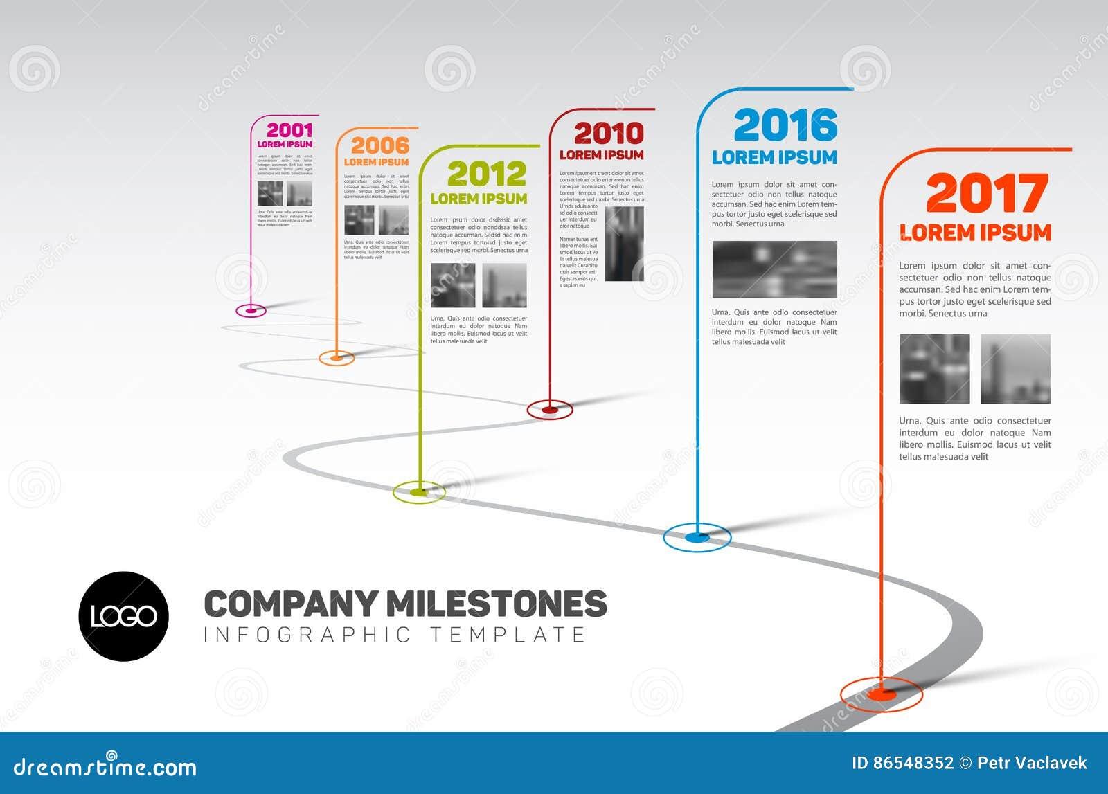 Mall för Infographic Företag milstolpeTimeline