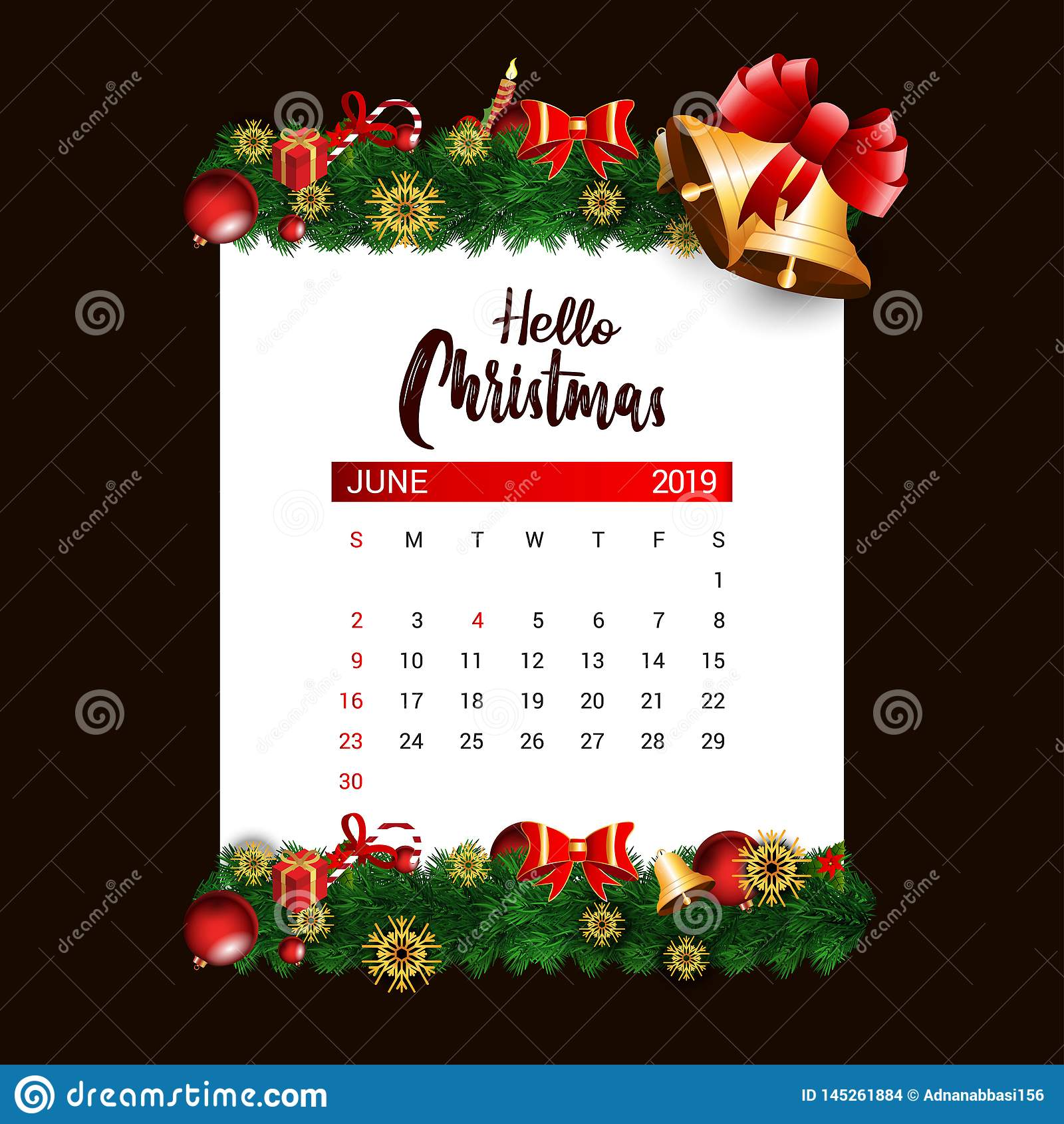 2019 mall för Juni kalenderdesign av garnering för jul eller för nytt år
