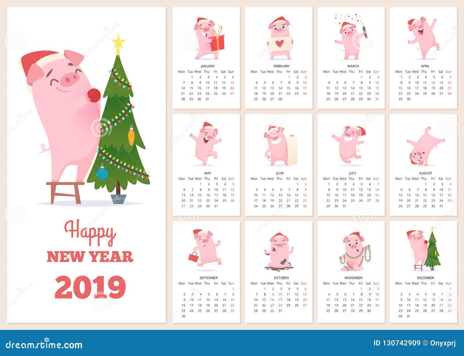 Mall för 2019 kalender För berömsvin för nytt år tecken på månader för dagbok för orientering för vektor för sidor för designkale