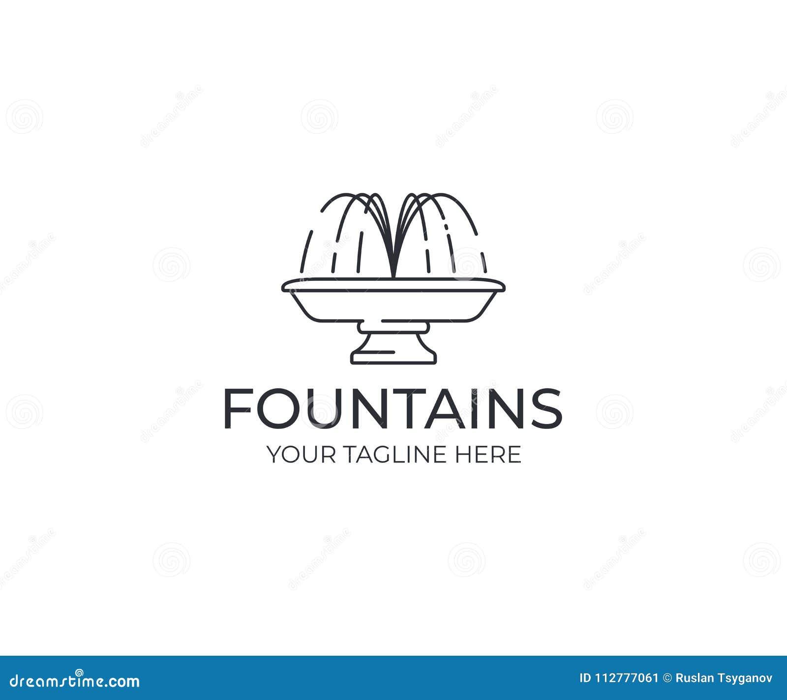 Mall för logo för springbrunn för vattenstråle Linjär design för springbrunnkonturvektor